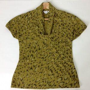 MaxMara Wool Blend Animal Print V-neck Top Sz M
